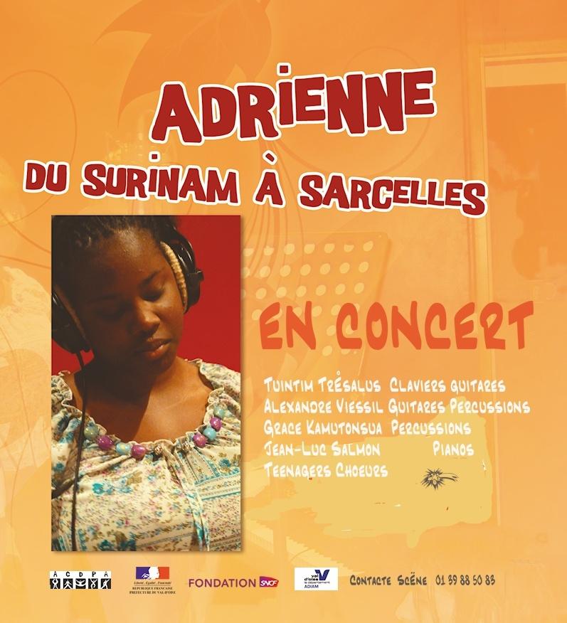Voici l'affiche annonçant le concert Teenager « Adrienne », le 11 mai 2013, à 16H00, Salle Jacques Berrier, rue Pierre Brossolette à Sarcelles village