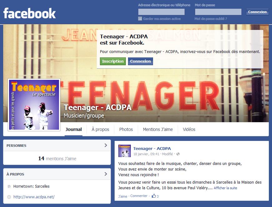 """Suivez l'aventure """"Teenager"""" sur Facebook"""