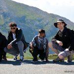 Kevin, Alexandre, Abymaniou et Samuel, à la frontière italienne au Col Agnel, le 8 Juillet (c'est la deuxième étape de la tournée 2016)