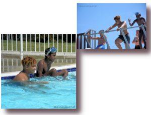 Isaia, Thibaud, Abimaniou et Véronique, à la piscine d'Oléron